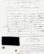 LETTRE COMMERCIALE 1834 Par Léon Duclosnégociant En  Tissus à Paris Pour Mr Chevalier Négociant à Colmar + échantillon B - Manoscritti