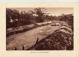 VILLAGE DU MOYEN-CONGO, Animée,  Planche Densité = 200g, Format: 20 X 29 Cm, (Bruel) - Historical Documents