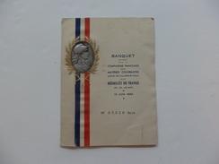 Menu Du Banquet Offert Par La Cie Des Matières Colorantes Usines De Villers St Paul (60).Offert Aux Médaillés Du Travail - Menu