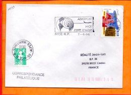 """ALPES-MMES, Nice, Flamme SCOTEM N°14739, """"Aeroport Nice Côte D'Azur"""" - Oblitérations Mécaniques (flammes)"""