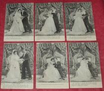 Série Mariage : Lot De 6 Cartes Postales ::: Noces - Mariés - Robes De Mariages - Hommes - Femmes   ---------- 402 - Noces