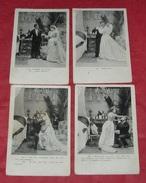 Série La Chambre Nuptiale  : Lot De 4 Cartes Postales : Noces - Mariés - Robes De Mariages - Hommes - Femmes ------ 402 - Noces