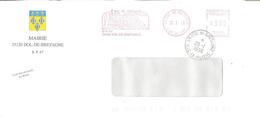 CACHET OBLITERATION FLAMME EMA DOL DE BRETAGNE SUR ENVELOPPE MAIRIE BAIE DU MONT SAINT MICHEL - Postmark Collection (Covers)
