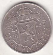 CHYPRE, 9 PIASTRES 1901, VICTORIA. ARGENT - Cyprus