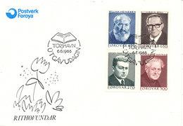 Faroe Islands FDC 6-6-1988 Authors Heinesen, Bru, Jacobsen, Matras Complete Set Of 4 With Cachet - Faroe Islands