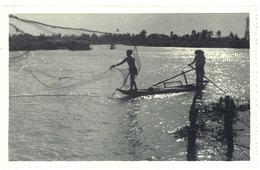 Cpa Carte-photo Environs De Saïgon, Pêche Au Filet - Viêt-Nam