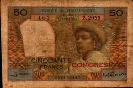 COMORES Banque Madagascar Et Comores 50 FRANCS De 1960-63nd Pick 2b - Comoros