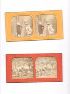 Lot De 2 Cartes Stéréoscopiques : Scènes Agricoles, Enfants, - Stereoscopische Kaarten