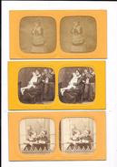 Lot De 3 Cartes Stéréoscopiques :  Scènes Familliales, Enfants, - Stereoscopische Kaarten