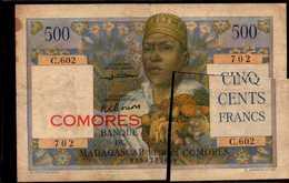 COMORES Banque Madagascar Et Comores  500 FRANCS De 1960-63nd Pick 4b - Comoros