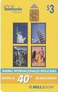 TARJETA DE ECUADOR DE BELLSOUTH DE $3 CON SELLOS (STAMP-PISA-TORO-BULL-ESTATUA LIBERTAD-SELLO-STATUE OF LIBERTY) - Ecuador