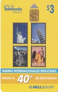 TARJETA DE ECUADOR DE BELLSOUTH DE $3 CON SELLOS (STAMP-PISA-TORO-BULL-ESTATUA LIBERTAD-SELLO-STATUE OF LIBERTY)