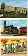 4- BAY CITY, Michigan, USA, Linen Postcards - Etats-Unis
