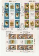 BELIZE N° 582 A 584 OBLITERE  EN BLOC DE 6 - ANNEE 1982 - Belize (1973-...)