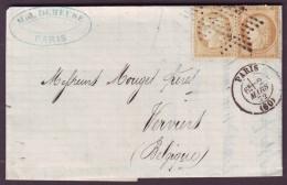 SEINE - LAC - Tàd PARIS (60) + Etoile évidé Sur 2 X N° 59 (teintes Différentes) Pour Verviers (Belgique) - 1849-1876: Classic Period