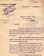 VP7219 - Lettre - Banque Privée Industriel,Commerciale,Coloniale LYON - MARSEILLE Agence De MONTPELLIER & PARIS - Bank & Insurance