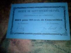 Vieux Papier  Bon Pour 20 Cent De Combustibles Offert Par La Societe De Saint Vincent De Paul Conference De Lorgues - Other