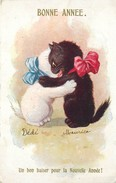 BONNE ANNEE - CHATS - CATS - BAISER DU NOUVEL AN - ILLUSTRATEUR BARNES - N°6477 - VOIR SCANS - Anno Nuovo