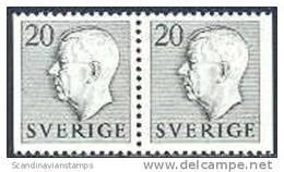ZWEDEN 1951-1957 20õre Paar Gustaf VI Adolf Type I Grijs PF-MNH