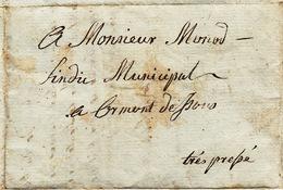 Lettre Pré-philatélique Des Ormonts Dessous, Mr Le Sindic Municipal 3.9.1819 - Autographes