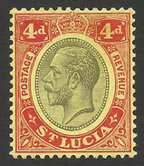 St. Lucia, 4 P. 1924,  Sc # 85, Mi # 75, MH. - Ste Lucie (...-1978)