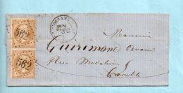 Isère : N° 21 . G.C. 562 De Bourg D'Oisans + Cachet Type 15 Du 28/10/1867. (39170) - Postmark Collection (Covers)