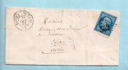 Isère : N° 22. G.C. 562 De Bourg D'Oisans + Cachet Type 15 Du 19/10/1864. (39173) - Postmark Collection (Covers)