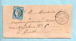 Isère : N° 60. G.C. 562 De Bourg D'Oisans + Cachet Type 17 Du 113/06/1874. (39174) - Postmark Collection (Covers)
