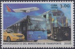 2016.54 CUBA 2016 MNH. ANIV MINISTERIO DE TRANSPORTE. TRANSPORT. RAILROAD RAILWAY CARS. - Unused Stamps