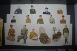 Lot De 15 Portraits Des Officiers De La Seconde Guerre Mondiale Par SISS - WW2 39-45 - Documents