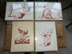 LOT DE 4 ANCIENNES LITHOS DE J. OCHS / 1883 - 1971  / SOUS-VERRE - Lithographies