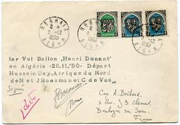 """ALGERIE CARTE AVEC CACHET """"1er VOL BALLON HENRI DUNANT EN ALGERIE 26-11-50 DEPART HUSSEIN DEY..."""" SIGNEE PAR LES PILOTES - Algeria (1924-1962)"""