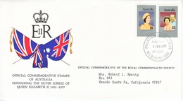 AUSTRALIA  FDC  COVER  SILVER  JUBILEE  QE  II - Covers & Documents
