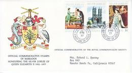BARBADOS  FDC  COVER  SILVER  JUBILEE  QE  II - Barbados (1966-...)