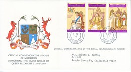 MAURITIUS  FDC  COVER  SILVER  JUBILEE  QE  II - Mauritius (1968-...)