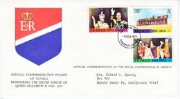 TUVALU  FDC  COVER  SILVER  JUBILEE  QE  II - Tuvalu