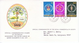 SEYCHELLES  FDC  COVER  SILVER  JUBILEE  QE  II - Seychelles (1976-...)