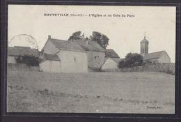 CPA 21 - HAUTEVILLE - L'Eglise Et Un Coin Du Pays - Très Jolie Vue De Près Du Village + TB TAMPON MILITAIRE Bleu Verso - Autres Communes
