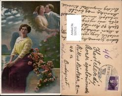 531715,Künstler AK Frau Liebe Paar Rosen Kuss Traum Fantasie - Paare