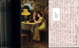 531711,Künstler AK G. Waldauer Frau Liebe Paar Lampe Tischlampe - Paare