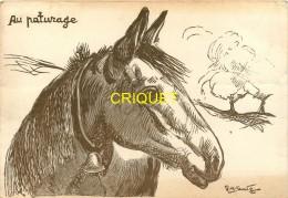 Illustrateur Sandoz, Au Paturage, Tête De Cheval, Carte Pas Courante - Other Illustrators