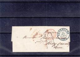Belgique - Lettre Taxée De 1851 - Oblit Bruxelles -  Cachet Rouge Belgique Valenciennes - Exp Vers Poissy - 1830-1849 (Belgique Indépendante)