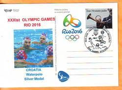 Croatia 2016 Y Postcard Overprint Sport Olympics Rio Waterpolo Silver Medal Postmark Zagreb 27.12. - Croacia