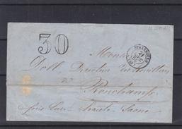 France - Lettre Taxée De 1859 - Oblitération Strasbourg - Expédié Vers Ronchamps - Cachet De Champagney - 1853-1860 Napoleon III