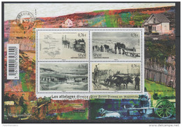 ST. PIERRE ET MIQUELON ,2015,  MNH, LANDSCAPES, HORSES, BOATS, NICE BLACK AND WHITE PHOTOS, SHEETLET OF 4v - Barche
