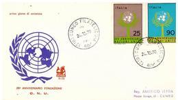 Fdc Bucintoro: 25° O.N.U. - ONU  (1970);  Viaggiata; AF_Cuneo - 6. 1946-.. República