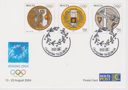 Malta 2004 Exhibition Card Olymphilex - Olympic Games - Greece - Malta