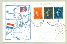 Nederland - 1939 - Wilhelmina Tri-colore Op 1e Vlucht Amsterdam - Oslo - Vh A160b - Periode 1891-1948 (Wilhelmina)