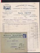 Facture + Enveloppe. Manufacture De Galoches Et Chaussures Emile DAVID.   Vaison La Romaine (Vaucluse). - Textilos & Vestidos