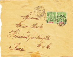 16823# MADAGASCAR GROUPE LETTRE Obl TANANARIVE 1907 Pour HENAMENIL EINVILLE MEURTHE ET MOSELLE - Madagaskar (1889-1960)